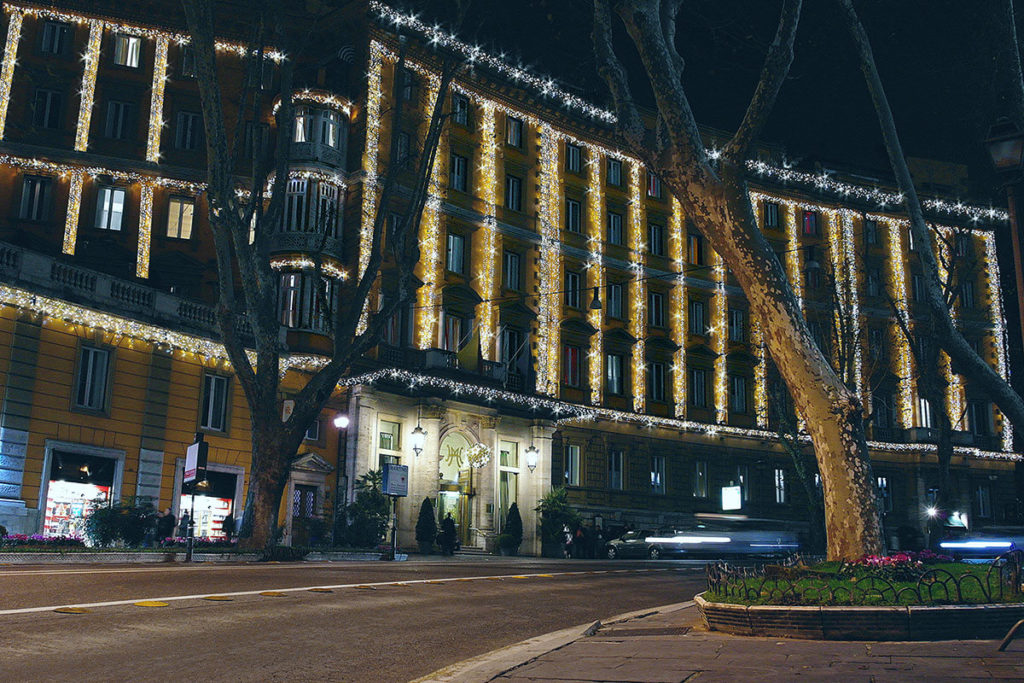 Nocturne shot of Hotel Majestic Roma building