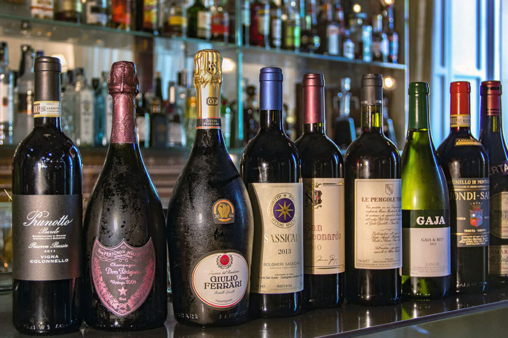 Fine selection of wines at Hotel Majestic Roma