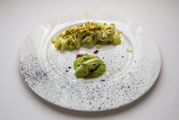 Cuttlefish, green peas and jowl at Hotel Majestic Roma